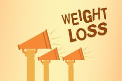 Writing note showing Weight Loss. Business photo showcasing Decrease in Body Fluid Muscle Mass Reduce Fat Dispose Tissue Hands hol. Ding megaphones loudspeakers stock illustration