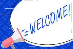 Writing note showing Welcome. Business photo showcasing Warm salutation acknowledgement for someone amiable loved. Writing note showing Welcome. Business concept stock illustration