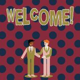 Writing note showing Welcome. Business photo showcasing Warm salutation acknowledgement for someone amiable loved. Writing note showing Welcome. Business concept vector illustration