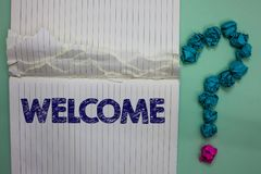 Writing note showing Welcome. Business photo showcasing Warm salutation acknowledgement for someone amiable loved thanked Ideas pa. Per object inspiration stock photography