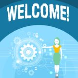 Writing note showing Welcome. Business photo showcasing Warm salutation acknowledgement for someone amiable loved. Writing note showing Welcome. Business concept royalty free illustration