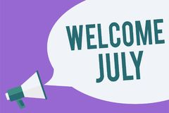 Writing note showing Welcome July. Business photo showcasing Calendar Seventh Month 31days Third Quarter New Season Megaphone loud. Speaker speech bubble Royalty Free Illustration