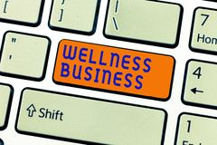 Writing note showing Wellness Business. Business photo showcasing Professional venture focusing the health of mind and body.  royalty free stock photography