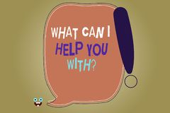 Writing note showing What Can I Help You Withquestion. Business photo showcasing Offering support assistance guidance. Blank Color Speech Bubble Outlined with royalty free illustration
