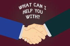 Writing note showing What Can I Help You Withquestion. Business photo showcasing Offering support assistance guidance Hu. Analysis Shaking Hands on Agreement vector illustration