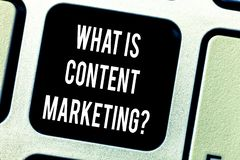 Writing note showing What Is Content Marketing. Business photo showcasing Advertising and business promotion strategies. Keyboard key Intention to create stock images