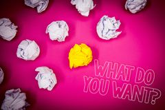 Writing note showing  What Do You Want Question. Business photo showcasing Aspiration Contemplation Need Contemplate Aspire Pink g. Round white paper lumps Stock Photo
