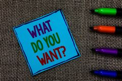 Free Writing Note Showing What Do You Want Question. Business Photo Showcasing Tell Me Your Desires Requests Demands Ambition Blue Pape Royalty Free Stock Photography - 121990517
