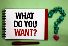 Writing note showing What Do You Want question. Business photo showcasing Tell me your desires requests demands ambition Celadon c. Olor background red sided stock photography