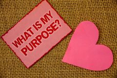 Writing note showing What Is My Purpose Question. Business photo showcasing Direction Importance Discernment Reflection Lavender. Pink page with red border royalty free stock photos
