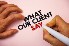 Writing note showing What Our Client Say. Business photo showcasing Customers Feedback or opinion about product service Marker pe. N paper Ideas messages Royalty Free Stock Photos