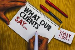 Writing note showing What Our Clients Say.... Business photo showcasing your customer feedback using poll or written paper Man hol stock photography