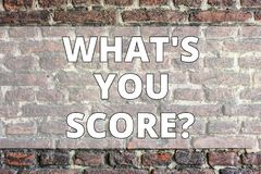 Writing note showing What S You Score. Business photo showcasing Tell Personal Individual Rating Average Results. Writing note showing What S You Score. Business royalty free stock photos