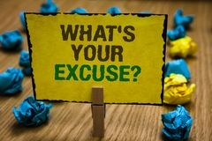 Writing note showing What s is Your Excuse question. Business photo showcasing Explanations for not doing something Inquiry Paperc. Lip grip yellow page with royalty free stock image