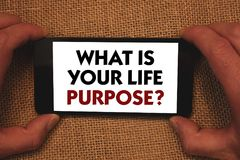 Writing note showing What Is Your Life Purpose Question. Business photo showcasing Personal Determination Aims Achieve Goal Man h. Olding cell phone white screen royalty free stock photo