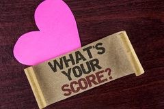 Writing note showing What Is Your Score Question. Business photo showcasing Tell Personal Individual Rating Average Results writt royalty free stock photos