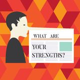 Writing note showing What Are Your Strengthsquestion. Business photo showcasing Tell us your best qualities skills Man with a Very. Long Nose like Pinocchio a stock images