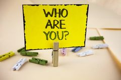 Writing note showing  Who Are You Question. Business photo showcasing Introduce or Identify Yourself Tell your Personal Story writ. Ten Yellow Sticky Note Paper Stock Photos