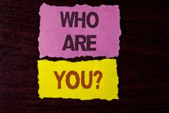 Writing note showing  Who Are You Question. Business photo showcasing Introduce or Identify Yourself Tell your Personal Story writ. Ten Tear Sticky Note Papers Stock Photography