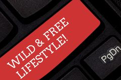 Writing note showing Wild And Free Lifestyle. Business photo showcasing Freedom natural way of living outdoor activities. Keyboard key Intention to create royalty free stock images