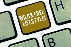 Writing note showing Wild And Free Lifestyle. Business photo showcasing Freedom natural way of living outdoor activities. Keyboard Intention to create computer royalty free stock image