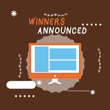 Writing note showing Winners Announced. Business photo showcasing Announcing who won the contest or any competition.  royalty free illustration