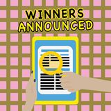 Writing note showing Winners Announced. Business photo showcasing Announcing who won the contest or any competition.  vector illustration
