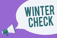 Writing note showing Winter Check. Business photo showcasing Coldest Season Maintenance Preparedness Snow Shovel Hiemal Megaphone vector illustration