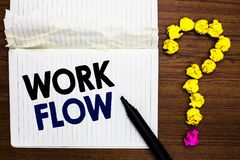 Writing note showing Work Flow. Business photo showcasing Continuity of a certain task to and from an office or employer Notebook. Marker crumpled paper forming royalty free stock photo