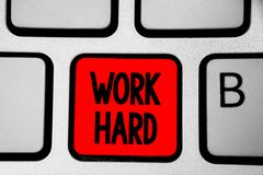 Writing note showing Work Hard. Business photo showcasing Laboring that puts effort into doing and completing tasks Keyboard red I. Ntention create computer royalty free stock images