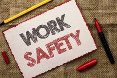 Writing note showing  Work Safety. Business photo showcasing Caution Security Regulations Protection Assurance Safeness written on. Writing note showing  Work Royalty Free Stock Images