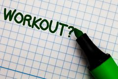 Writing note showing Workout Question. Business photo showcasing Activity for wellness bodybuilding training exercising Graph pape royalty free stock photo