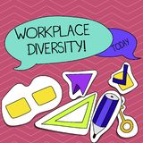 Writing note showing Workplace Diversity. Business photo showcasing Different race gender age sexual orientation of. Workers vector illustration