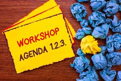 Writing note showing Workshop Agenda 1.2.3.. Business photo showcasing help to ensure that Event Stays on Schedule.  Stock Photo