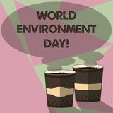 Writing note showing World Environment Day. Business photo showcasing awareness and the protection of our environment Two To Go. Cup with Beverage and Steam stock illustration