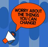 Writing note showing Worry About The Things You Can Change. Business photo showcasing Be in charge of possible actions Oval. Outlined Speech Bubble Text Balloon vector illustration