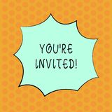 Writing note showing You Re Invited. Business photo showcasing make a polite friendly request to someone go somewhere. Writing note showing You Re Invited vector illustration