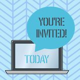 Writing note showing You Re Invited. Business photo showcasing You are happily encouraged to attend and event or a party. Writing note showing You Re Invited vector illustration
