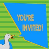 Writing note showing You Re Invited. Business photo showcasing make a polite friendly request to someone go somewhere. Writing note showing You Re Invited stock illustration