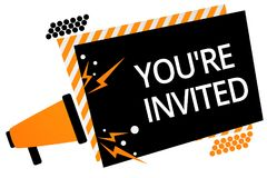 Writing note showing You re are Invited. Business photo showcasing Please join us in our celebration Welcome Be a guest Megaphone. Loudspeaker orange striped royalty free illustration