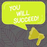 Writing note showing You Will Succeed. Business photo showcasing Inspiration motivation to keep working be positive. Writing note showing You Will Succeed royalty free illustration