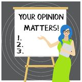 Writing note showing Your Opinion Matters. Business photo showcasing show you do not agree with something that just been. Writing note showing Your Opinion stock illustration