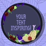 Writing note showing Your Text Inspiring. Business photo showcasing words make you feel exciting and strongly. Enthusiastic Hand Drawn Lamb Chops Herb Spice royalty free illustration