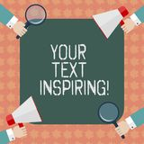 Writing note showing Your Text Inspiring. Business photo showcasing words make you feel exciting and strongly. Enthusiastic Hu analysis Hands Holding Magnifying stock illustration