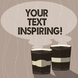 Writing note showing Your Text Inspiring. Business photo showcasing words make you feel exciting and strongly. Enthusiastic Two To Go Cup with Beverage and stock illustration