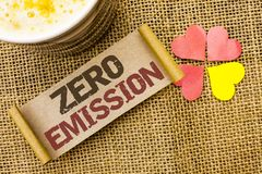 Writing note showing  Zero Emission. Business photo showcasing Engine Motor Energy Source that emits no waste products written on. Writing note showing  Zero Stock Photography