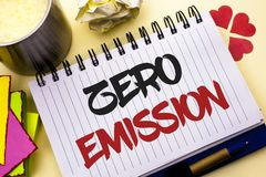 Writing note showing Zero Emission. Business photo showcasing Engine Motor Energy Source that emits no waste products written on. Writing note showing Zero Stock Photo