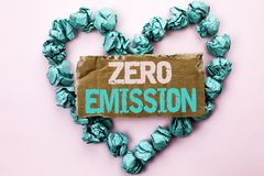 Writing note showing Zero Emission. Business photo showcasing Engine Motor Energy Source that emits no waste products written on. Writing note showing Zero Royalty Free Stock Images