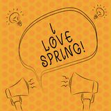 Writing note showingI Love Spring. Business photo showcasing Affection for season of year where there are lot of flowers Freehand. Outline Sketch of Speech stock illustration