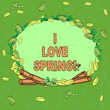 Writing note showingI Love Spring. Business photo showcasing Affection for season of year where there are lot of flowers. Wreath Made of Different Color Seeds royalty free illustration
